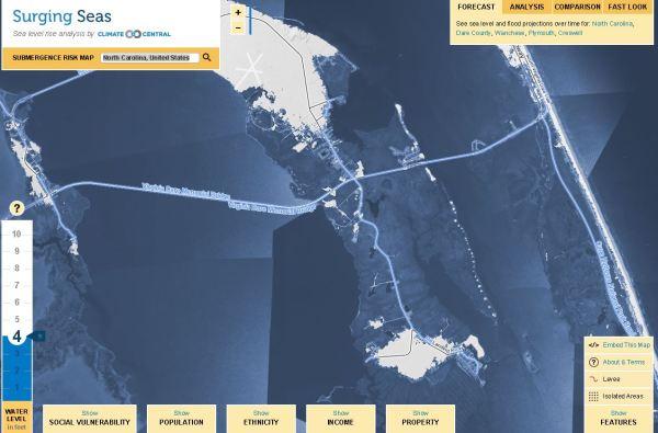 Roanoke Island Surging seas